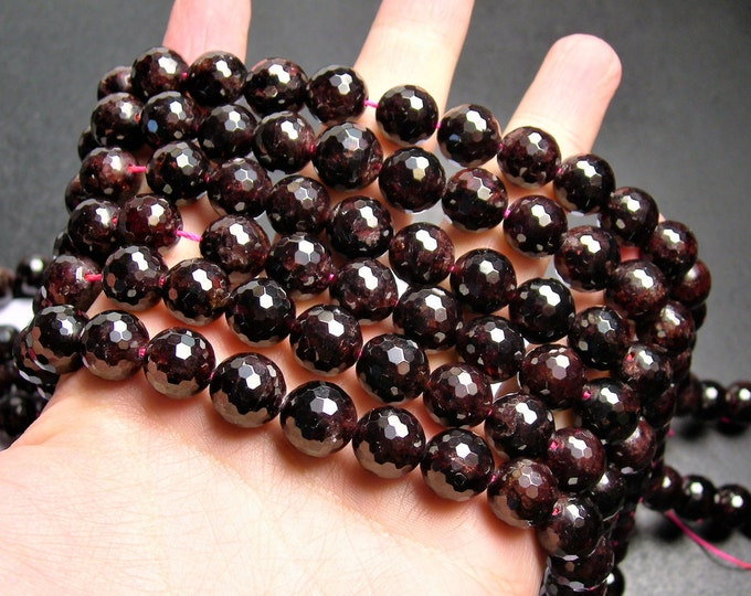 Garnet  - 12mm(11.7mm) faceted round beads -1 full strand - 34 beads - A quality - Red - RFG1230