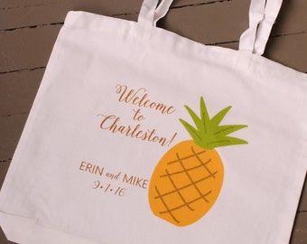 Custom Pineapple Wedding Welcome Bag - wedding welcome bags, wedding favors, bridal party gifts, Charleston Wedding