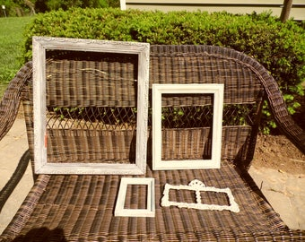 Frames vintage lot of 4 repainted frames, 2 wood, 1 double metal frame, 1 plastic 2 large and 2 small frames in blues and grays lot 3