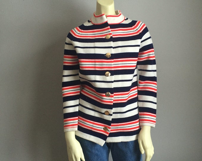 60s hand loomed MOD vintage centennial era gold buttons cardigan SWEATER retro red white and blue womens knit jacket jackie o style small M