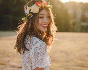 spring wedding flower crown // spring flower crown / floral headpiece / colourful spring flower crown / bridal flower crown /