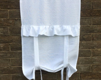 """Ruffle Linen Window Curtain, Floaty White Roll Up Blind, Privacy Bathroom Tie up Panel, 40"""" Length,"""