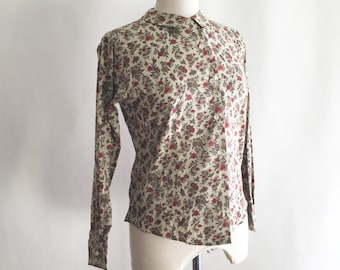 1960's Autumn Floral Cotton Long Sleeve Blouse // by The Country Shirt // Peter Pan Collar // Small