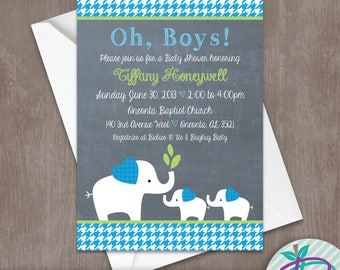 Elephant Baby Shower Invitation, Houndstooth Invite, One Baby or Twins, Boys or Girls!