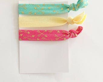 no crease elastic tie hairbands -- arrows in marine parents inspired colors