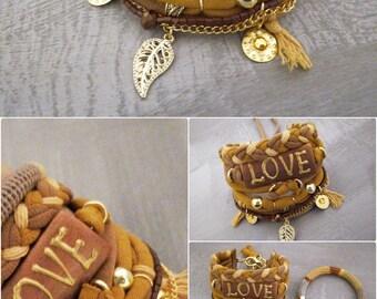 Mustard Yellow Bohemian Bracelet, Love Gypsy Bracelet Hippie Style, Multiple Strands Bracelet Gypsy Jewelry, Boho Bracelets Stack Leaf Charm