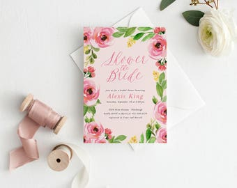 Watercolor Flower Bridal Shower Invitation, Floral Blossoms Invitation, Pink and Green Bridal Shower, Garden Bridal Shower Invitation