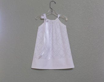 New! Girls White Pillowcase Dress - Toddler Girls White Sun Dress -  White Photo Shoot Dress - Size 12m, 18m, 2T, 3T, 4T, 5, 6, 8 or 10