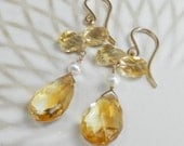 Faceted Citrine Briolettes with Pearls and Gold Filled Earrings