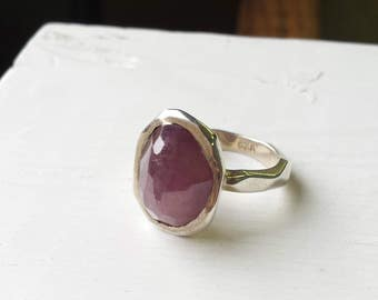 Rough Ruby Silver Ring - Raw Ruby, Hammered, Rustic - July Birthday - Size 6