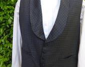 """Du 19ème siècle noir à carreaux gilet en laine des hommes, 2 X-Large, style poitrine 50-52"""", des années 1845-1860"""