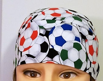 Colored Soccer Balls Chemo Cap, Skull Cap, Handmade, Hats, Head Wrap, Alopecia, Helmet Liner, Hair Loss, Sports, Athletics, Motorcycle