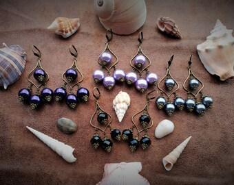 Gypsy Bohemian Pirate Queen Pearl Steampunk Fantasy Chandelier Earrings