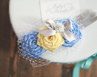 Blue and Yellow Vintage Beauty - Blue and Yellow Satin Rosettes Headband with Gold Embellishment -Peek-a-boo Birdcage Veiling