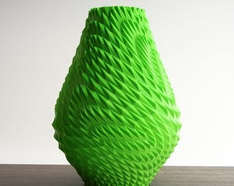 modern green vase with triangle texture - green vase - 3d printed sculpture