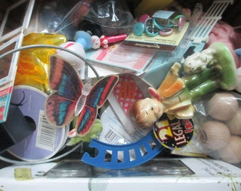 Junk Treasure Destash MIXED MEDIA SUPPLIES for Assemblage, Scrapbooking, Steampunk and Altered Art -  Flat Rate Box