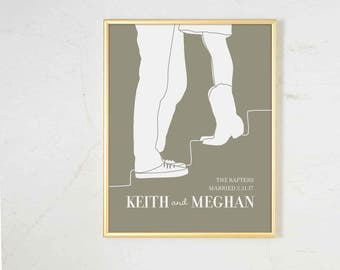 Personalized Wedding Gift for Couple, Rustic Wedding Gift Art Print, Bridal Shower Gift Wall Decor, Couples Portrait Silhouette Art Print