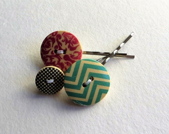 Wooden Hair Pin Boho Hair Clip with Painted Wooden Buttons, Set of Button Bobby Pins, Boho Hair Accessories for Women