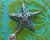 Pentacle of Rainbows // Inverted Silver Plated Star Necklace with Vintage AB Crystal Flowers Witch Occult Bohemian Pagan Gypsy Moonchild