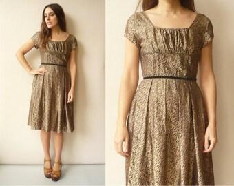 1950's Vintage Gold Metallic Rockabilly Prom Party Dress Size XS