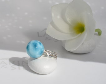 AAA Larimar ball ring size 6 by Larimarandsilver, Ocean Bride 1 - navy blue Larimar ball blue pearl ring, turtleback, handmade Larimar ring