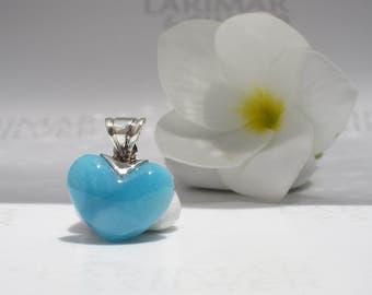 Larimar heart choker by Larimarandsilver, Little Mermaid Crunch 8, azure Larimar heart Caribbean blue sapphire blue handmade Larimar pendant