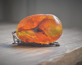 Amazing large Amber Pendant, Vibrant Glowing Golden orange Amber pendant on copper chain Talisman Necklace