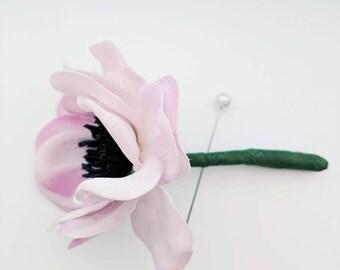 Boutonniere - Anemone - Pale Pink Lavender Hue