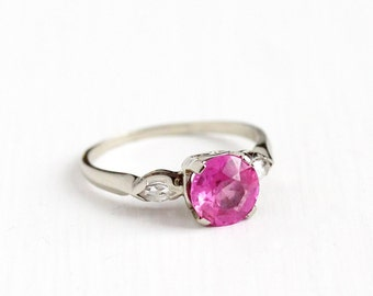 Sale - Vintage 14k White Gold Created Pink Sapphire & Created Spinel Ring -  Size 8 1/4 Art Deco Pink Alternative Engagement Fine Jewelry