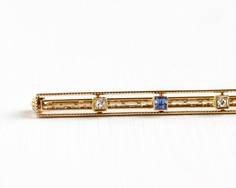 Sale - Antique Art Deco 14K Yellow Gold Created Sapphire & Diamond Bar Pin - Vintage Filigree 1920s 1930s Long Brooch Fine Linear Jewelry