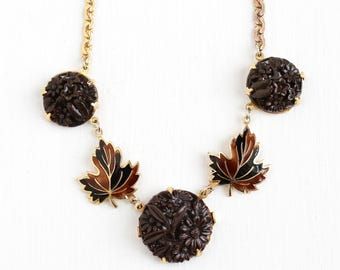 Vintage Art Deco Brown Molded Glass & Enamel Leaf Necklace - Antique 1930s Brown Fall Inspired Gold Tone Costume Jewelry