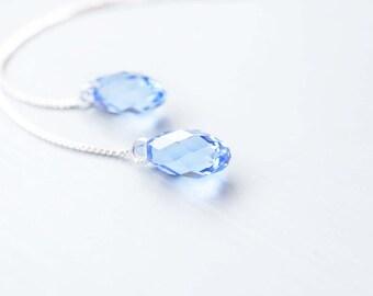 Earrings, Threader Earrings, Long Earrings, Silver Earrings, Blue Earrings, Crystal Earrings, Dangle Earrings, Drop Earrings, Gift for Her