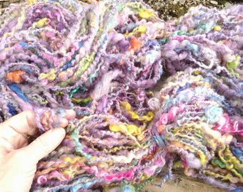 Handspun BLOOM TIME yarn 105 yards kid Mohair soft Shetland wool  lavender lock spun
