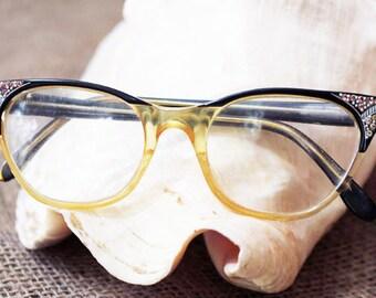 Cat Eye Glasses with Bling, Black Frame   - A