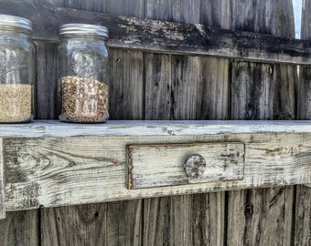 Rustic Country Mantle, Primitive Farmhouse Style Display Shelf
