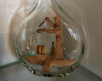 Vintage French Country Man Cave Barware Bottle with Animated Wooden Theme,  Farmhouse Fun