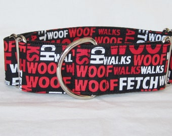 LAST ONE LARGE Good Dog Martingale Collar - 1.5 or 2 Inch - handsome red white black woof fetch words walks fun