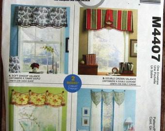Window Valances in Four Styles: Soft Swoop Valance, Double Crown Valance, Hooked in Valance, Teardrop McCalls Home Dec Pattern M4407 UNCUT
