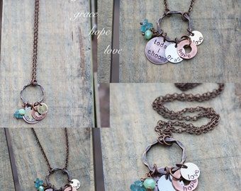 Today I choose grace, hope, love - mixed metal design with pale green crystal and aqua apatite stones
