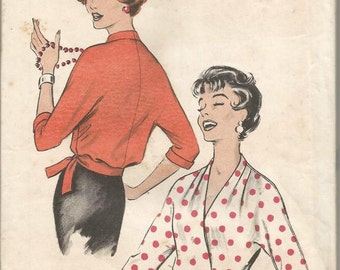 1950s Wrap Surplice Blouse Pattern Day Evening Kimono Sleeves Easy to Sew Size 14 Bust 34 Uncut FF Women's Vintage Sewing Pattern