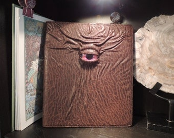 Mythical Beast Spiral Notebook-Refillable cover( Brown leather with Red eye)