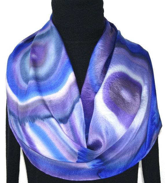 Silk Scarf Handpainted. Purple Lavender Hand Painted Shawl. Handmade Silk Wrap PURPLE QUARTZ. 11x60. Bridesmaid, Mother Gift. Gift-Wrapped