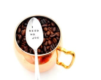 I Need Mo Joe Coffee Spoon. The ORIGINAL Hand Stamped Vintage Coffee Spoons™ by Sycamore Hill. Unique Gift for Hard to Buy for Guy Named Joe