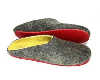 Unisex Felt Wool Clogs Grey Yellow, Felted House Shoes, 6 Colors Rubber Soles, Cork Sole,  Mix and Match, Gifts for Him, Gifts for Her