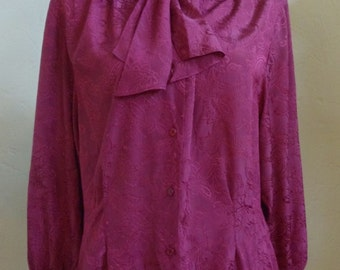 """Vintage 70's Condor Long Sleeved Burgundy Blouse with Collar that Extends Out to 2 Ties Bust 42"""" Waist 38"""""""