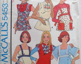 Sewing Pattern For 1970's Tops - Summer Tops, Embroidered Top - McCall's 5453 - Size Petite (6-8), Bust 30 1/2 - 31 1/2 - MISSING COLLAR