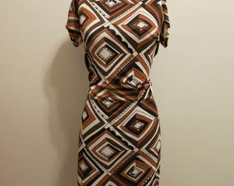 Dress Pucci MOD graphic print brown black diamond stretch S