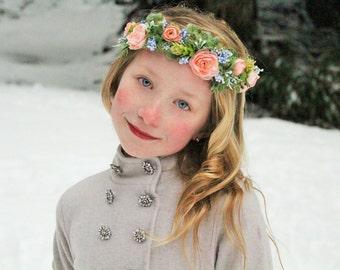 Blush flower headband, pink headband, flower headband, halo headband,flower girl headband, ready to ship, bridal headband