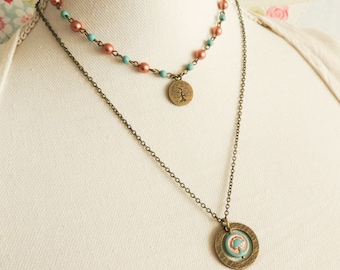 Bohemian layered charm necklace, tree-of-life jewelry, gift for her, boho chic jewelry, summer