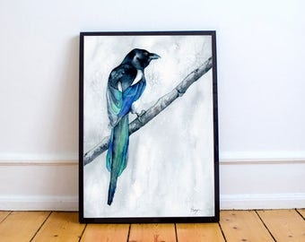 Original Watercolor Painting - The Collector - Magpie Bird Art